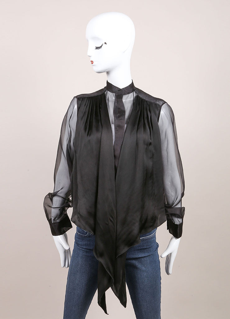 Christopher Kane New With Tags Black Silk Sheer Tie Front Button Down Blouse Frontview