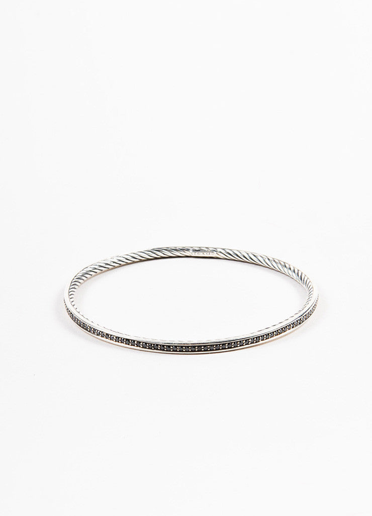 "David Yurman Sterling Silver and Black Diamonds ""Cable Inside"" Bangle Bracelet Frontview"
