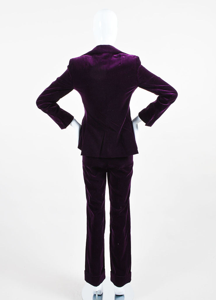 Dolce & Gabbana Purple Velvet 3 Piece Long Sleeve Jacket Vest Pants Suit Backview
