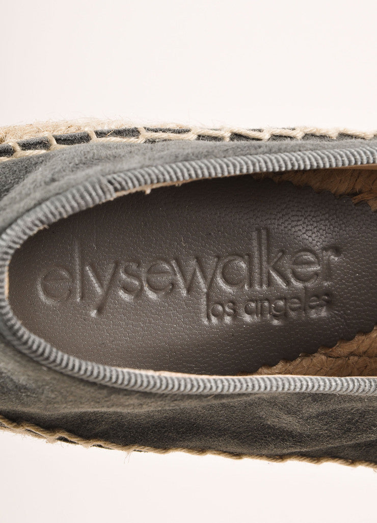 Elyse Walker New In Box Grey Suede Rhinestone Skull Espadrille Flats Brand