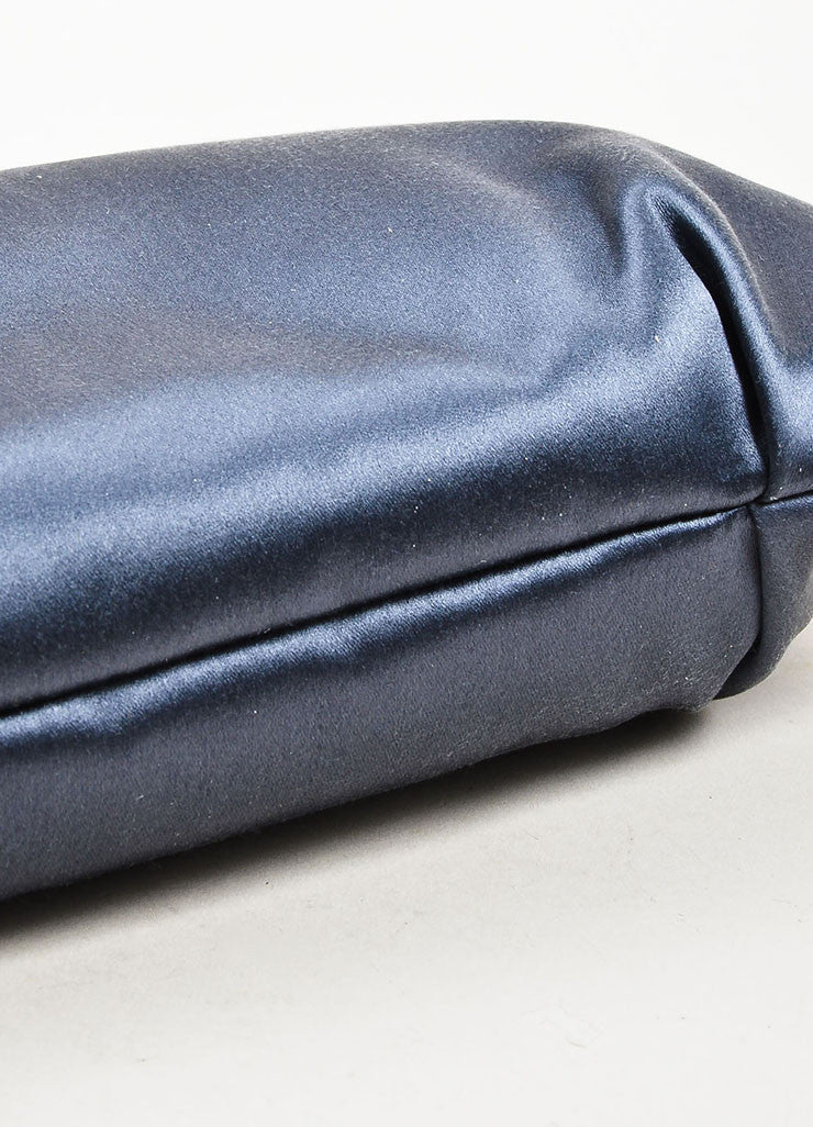 å´?ÌÜEmilio Pucci Steel Blue Grey Satin Suede Tassel Zip Clutch Pouch Bag Bottom View