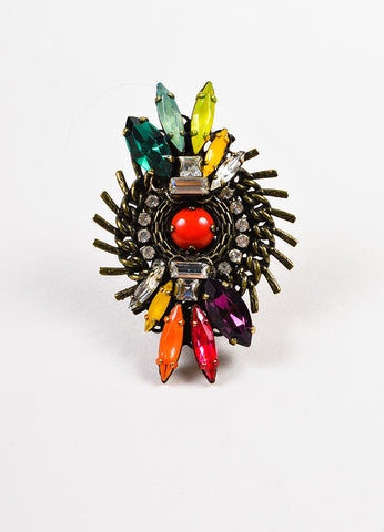 Erickson Beamon Brass Multicolor Swarovski Crystal Jeweled Cocktail Ring Frontview