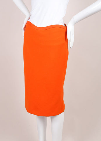 Gianni Versace Orange Wool Pencil Skirt Sideview