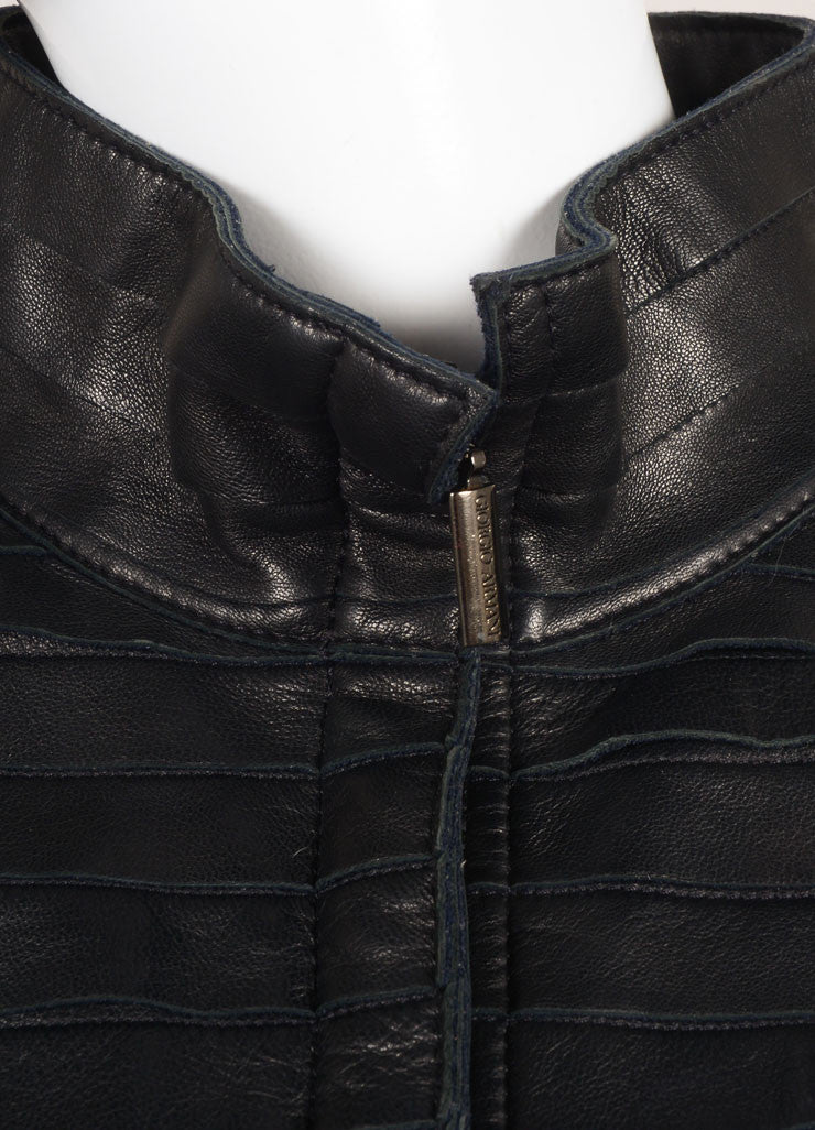 Giorgio Armani Black Tiered Leather Jacket Detail