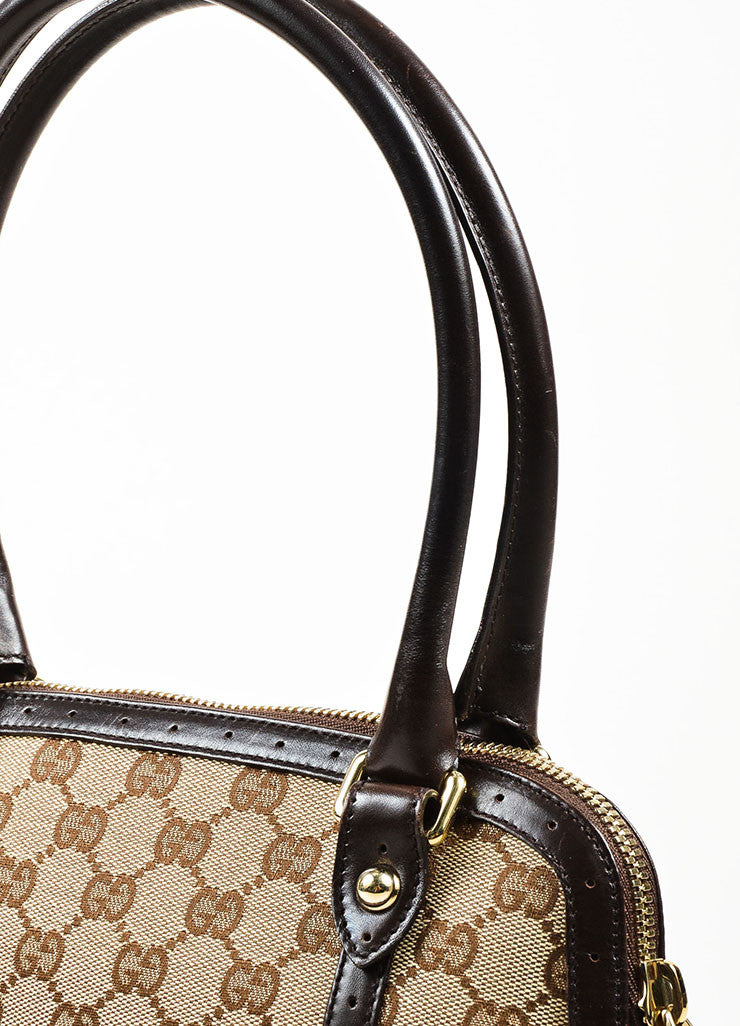 "Gucci Brown and Tan Canvas and Leather Monogram Striped ""Reins"" Shoulder Bag Detail 2"