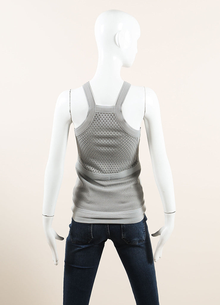 Gucci Grey Stretch Mesh Knit Ribbed Sleeveless Top  Backveiw