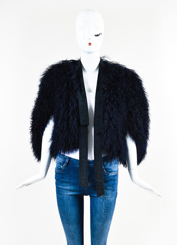 Gucci Navy Blue Shaggy Shearling Fur Suede Tie Sleeveless Shrug Jacket Frontview