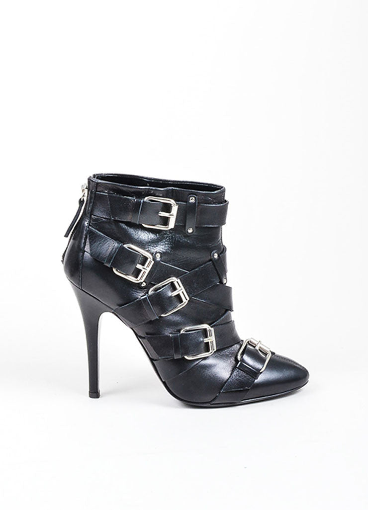Black Giuseppe Zanotti for Balmain Leather Buckle Cross Strap Ankle Boots Sideview