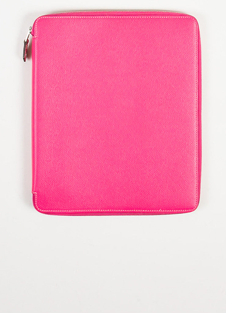"Hermes Pink and Silver Toned Epsom Leather Zip ""Hightech iPad Stand"" Cover Frontview"