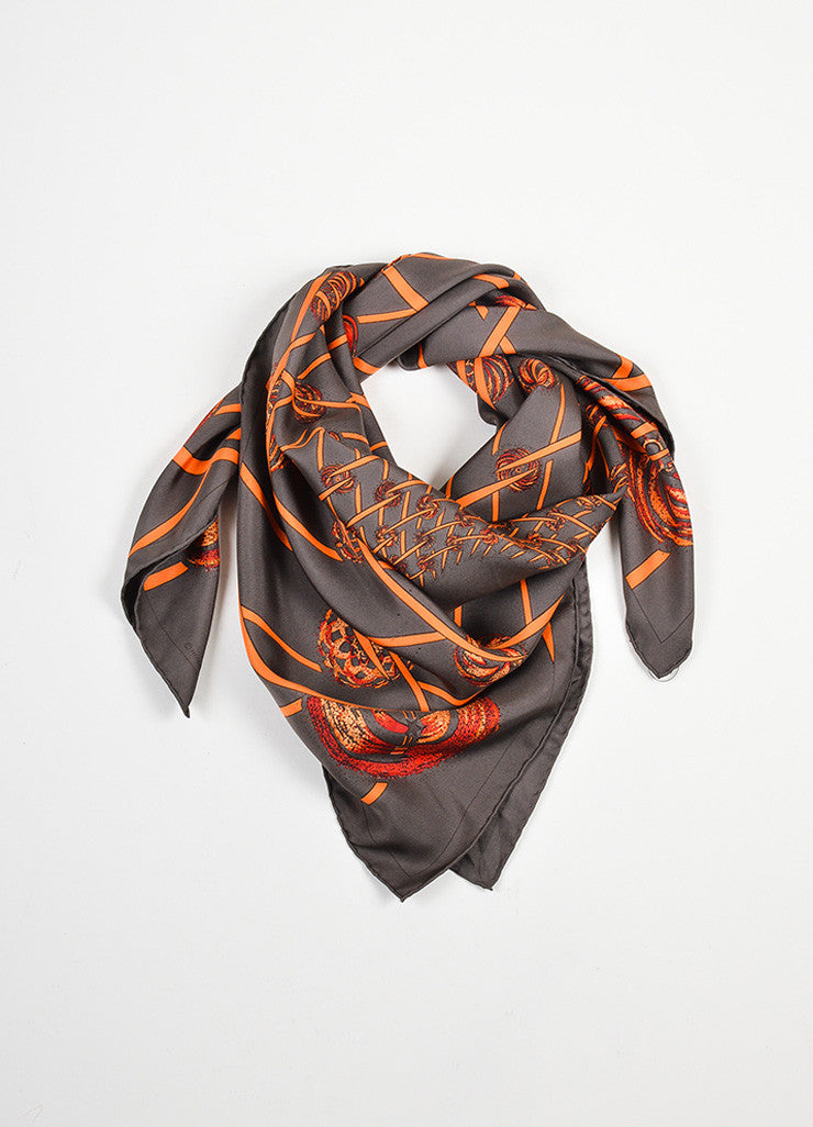 "Brown, Orange, and Red Hermes Silk ""Les Feux de L'Espace"" Printed Scarf Frontview"