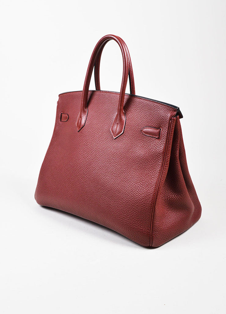 "Hermes Maroon Togo Leather Silver Palladium Hardware 35cm ""Birkin"" Handbag Sideview"