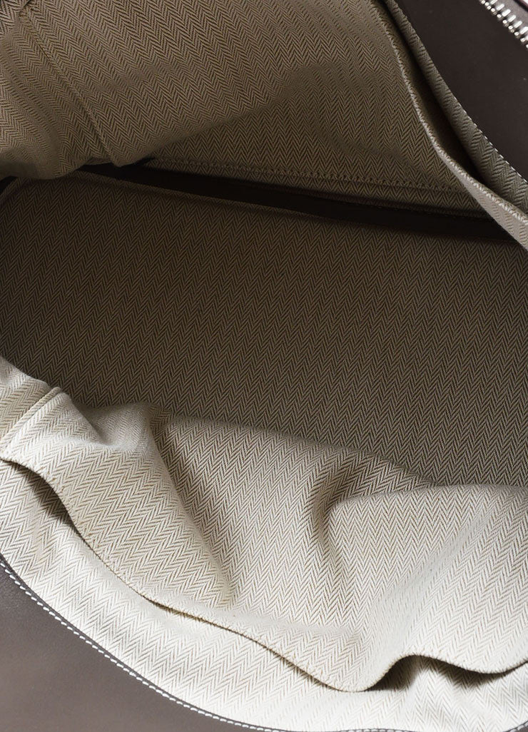 "Hermes 'Vert de Gris' Grey Barenia Leather ""Relax Bolide"" 40cm Tote Bag Interior"