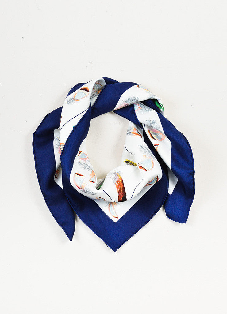 "Hermes White, Blue, and Multicolor Silk ""Plumes"" Scarf Frontview"