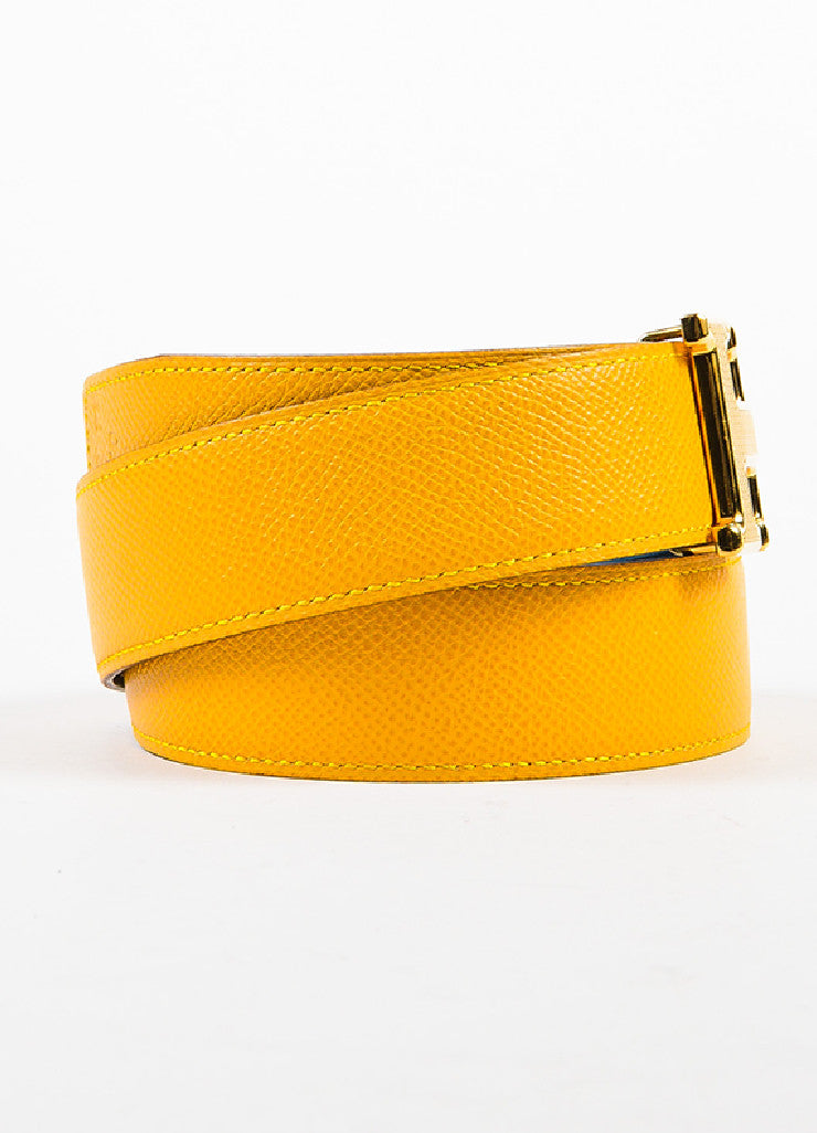 "Hermes ""Jaune D'or"" Yellow and ""Bleu Jean"" Blue Epsom Leather ""Constance"" Belt Sideview"