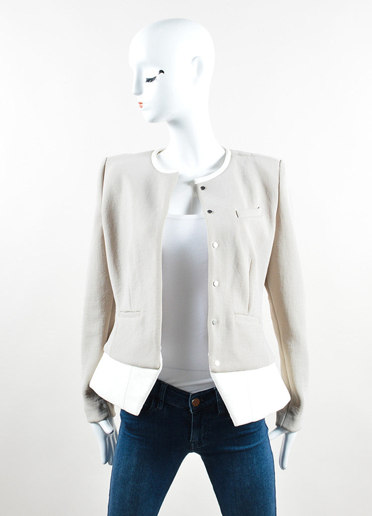 "Iro Grey and White Knit and Leather Peplum ""Clyde"" Blazer Frontview"
