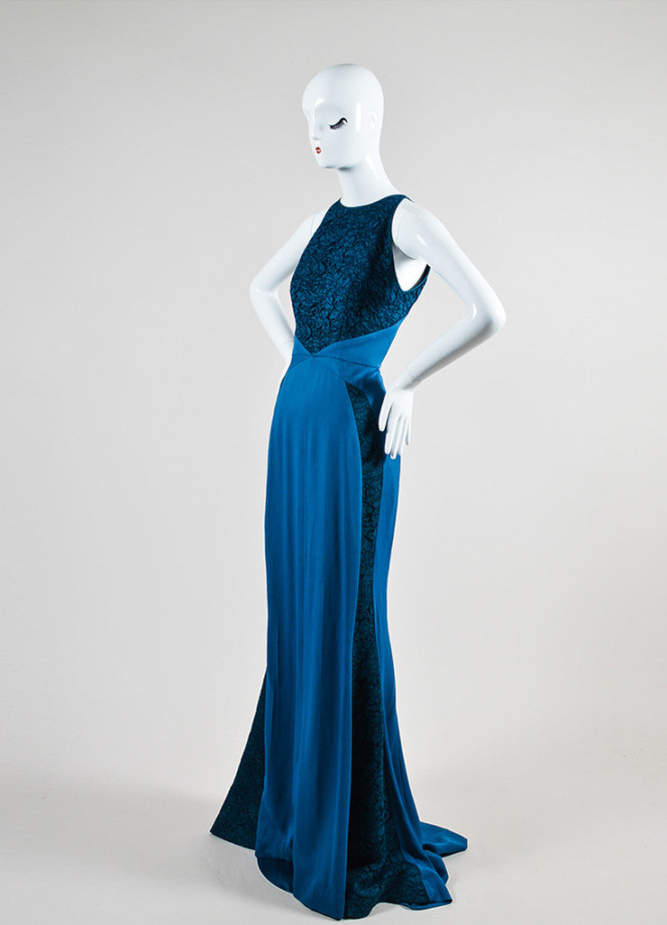J. Mendel Dark Teal Crepe Lace High Necklace Sleeveless Gown Sideview