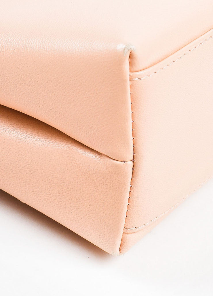 Pink Chanel Leather 'CC' Stand Handle Structured Bag Detail