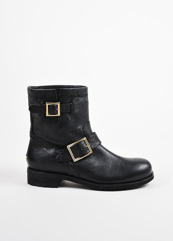 "Jimmy Choo Black Leather Buckled Short ""Youth"" Biker Boots Sideview"