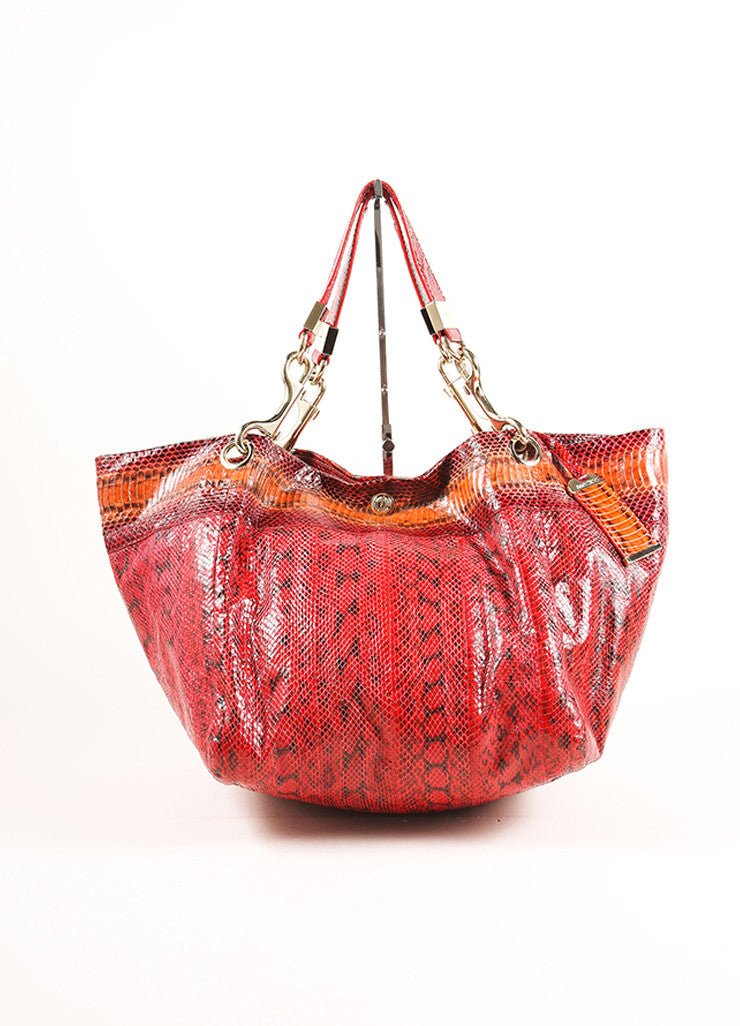 "Jimmy Choo Red Python Snakeskin ""Elaphe Lohla-Jayne"" Tote Bag Frontview"