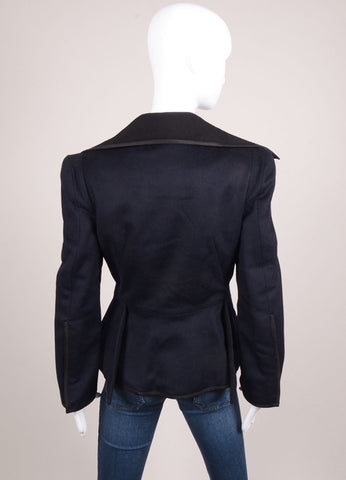 Karolina Zmarlak Navy and Black Wool Long Sleeve Pea Coat Backview