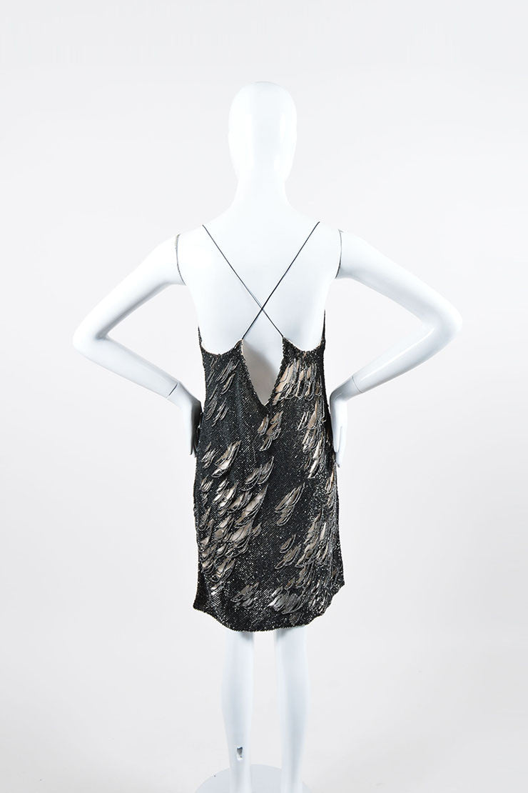 Dark Grey and Silver Sequin Beaded Sleeveless Kaufmanfranco Mini Dress Backview