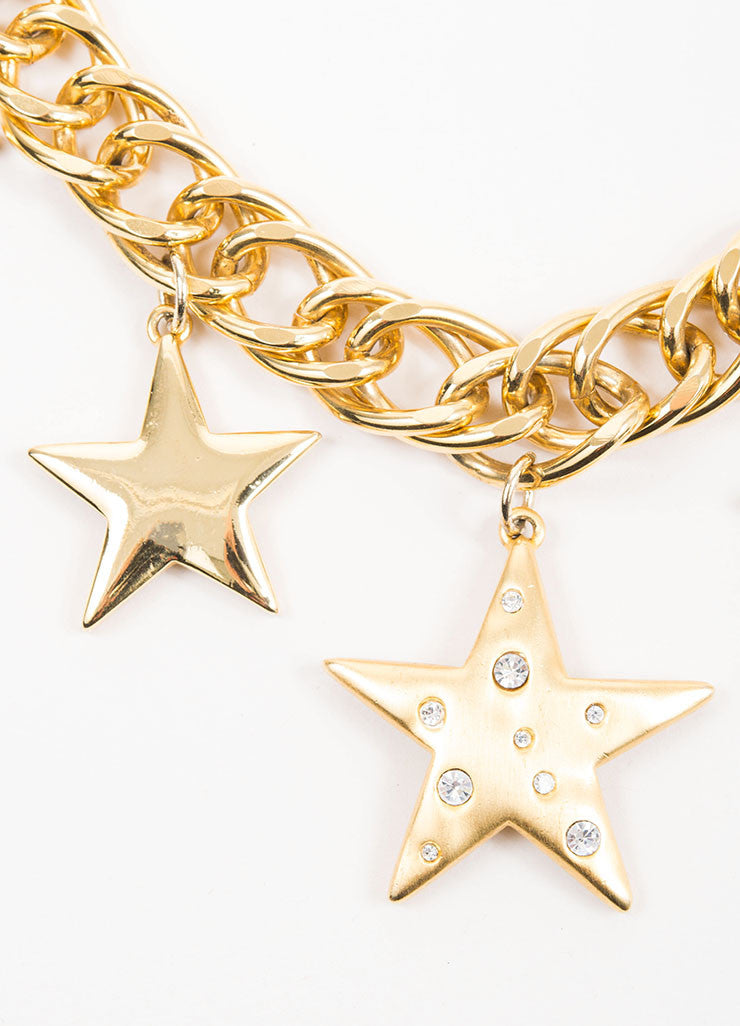 Gold Toned and Rhinestone Kenneth Jay Lane Star Pendants Curb Chain Necklace Detail