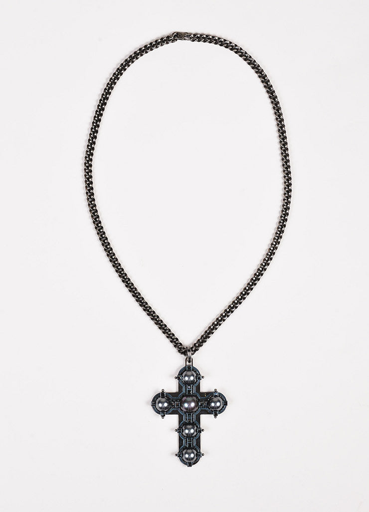 Lanvin Antiqued Silver Toned Black Faux Pearl Crystal Cross Necklace Front 2