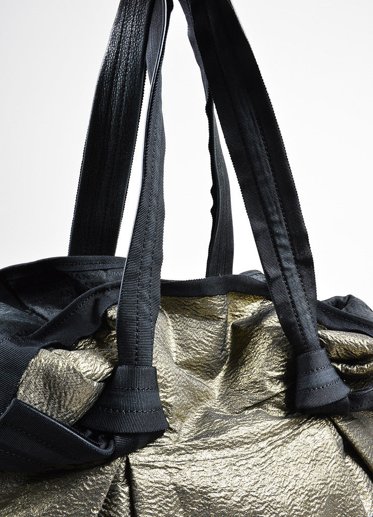 "Gold and Black Textured Metallic Leather Strap Lanvin ""Large Cabas"" Tote Shopper Bag Detail 2"