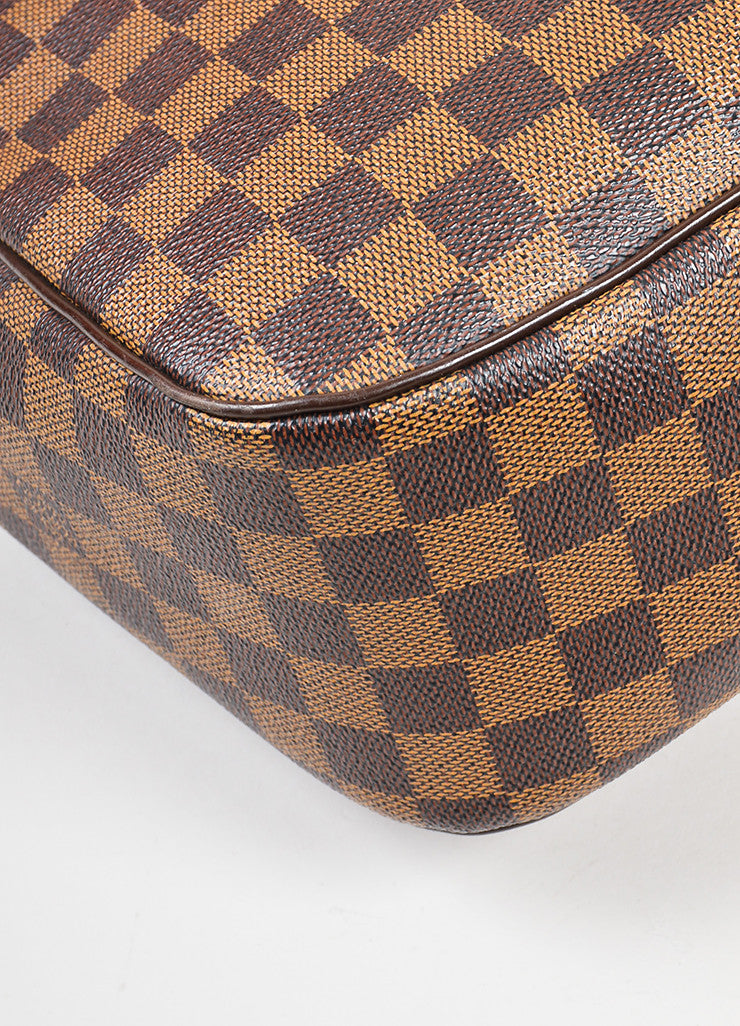 "Brown Louis Vuitton Coated Canvas Damier Print ""Paroli PM"" Shoulder Bag Detail"