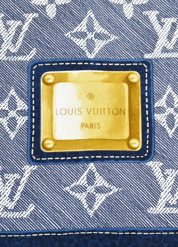 Louis Vuitton Blue and White Silk Monogram Belt Print Square Scarf Brand