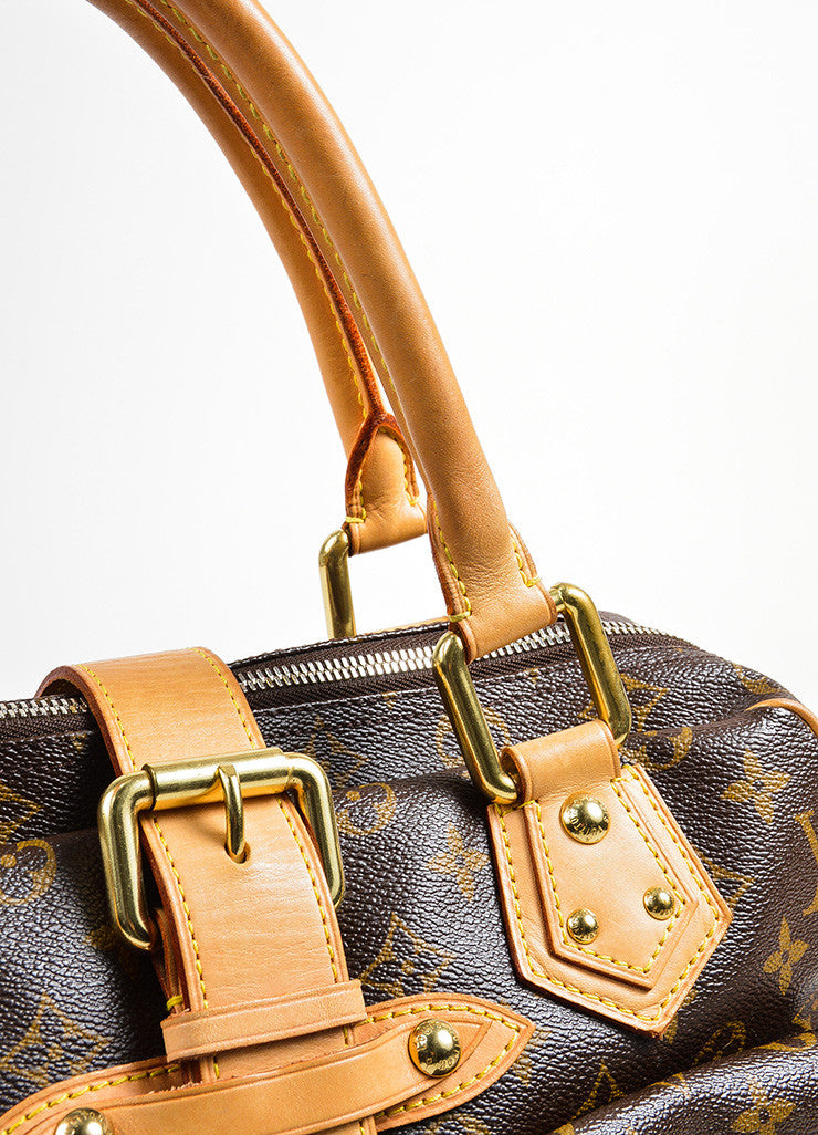 "Brown and Tan Louis Vuitton Canvas and Leather LV Monogram ""Manhattan GM"" Statement Bag Detail 2"