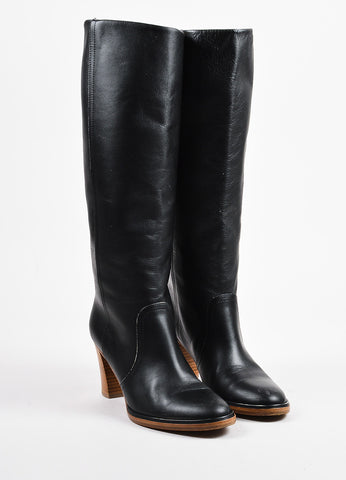Black Maison Martin Margiela Leather Knee High Heeled Boots Front