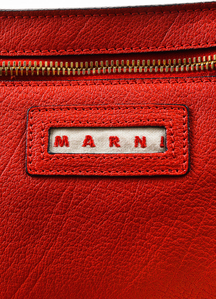 Marni Red and Gold Toned Grained Leather and Suede Fringe Hobo Bag with Pouch Brand