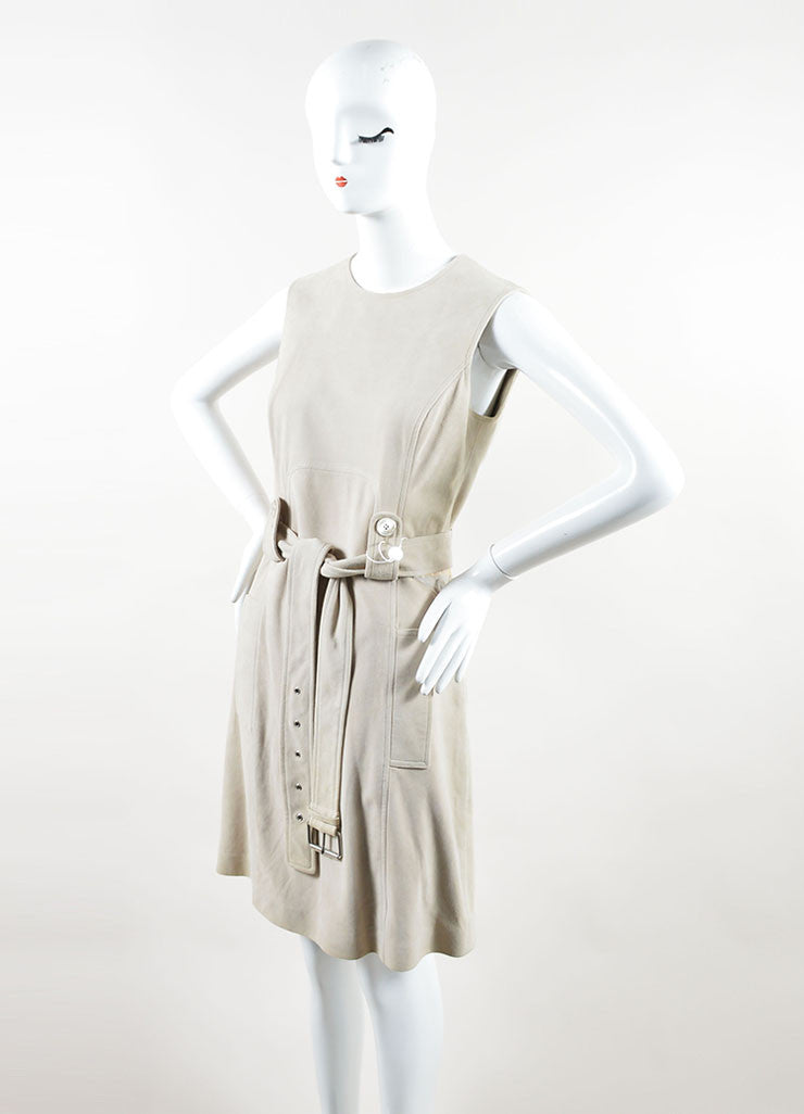 Michael Kors Taupe Suede Belted Sleeveless Dress Sideview