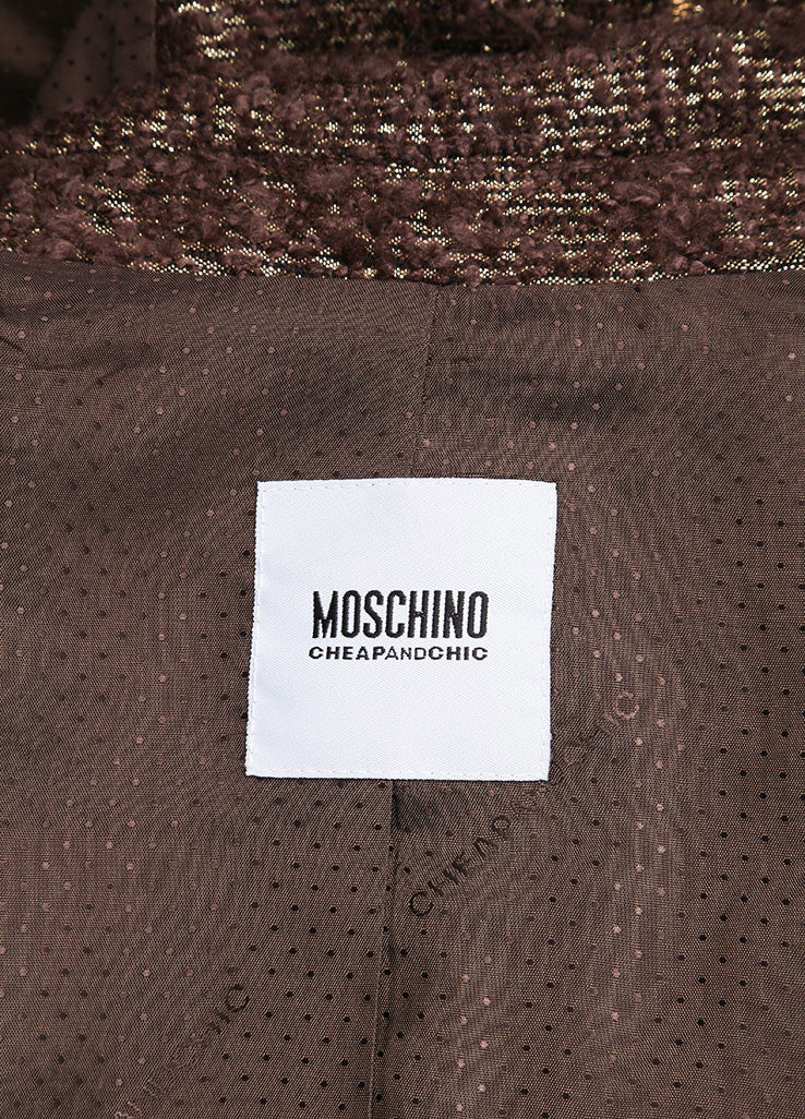 Moschino Cheap and Chic New With Tags Brown Metallic Gold Wool Boucle Blazer Brand