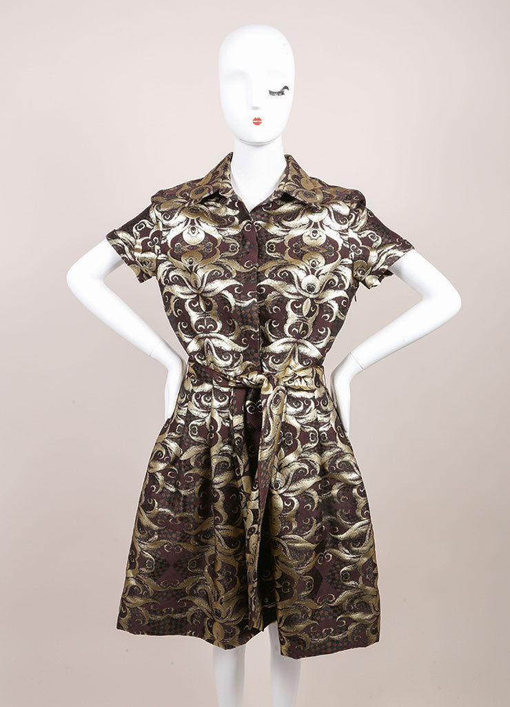 Naeem Khan New With Tags Gold and Brown Brocade Short Sleeve Belted Wool and Silk Shirt Dress Frontview