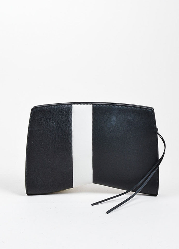 "Black and Grey Narciso Rodriguez Leather Stripe Zip ""Boomerang"" Clutch Bag Frontview"