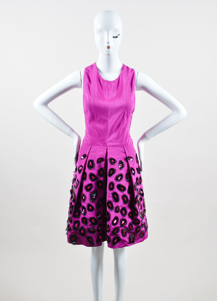 Fuchsia and Black Oscar de la Renta Silk Sequin Embellished Sheath Dress Frontview