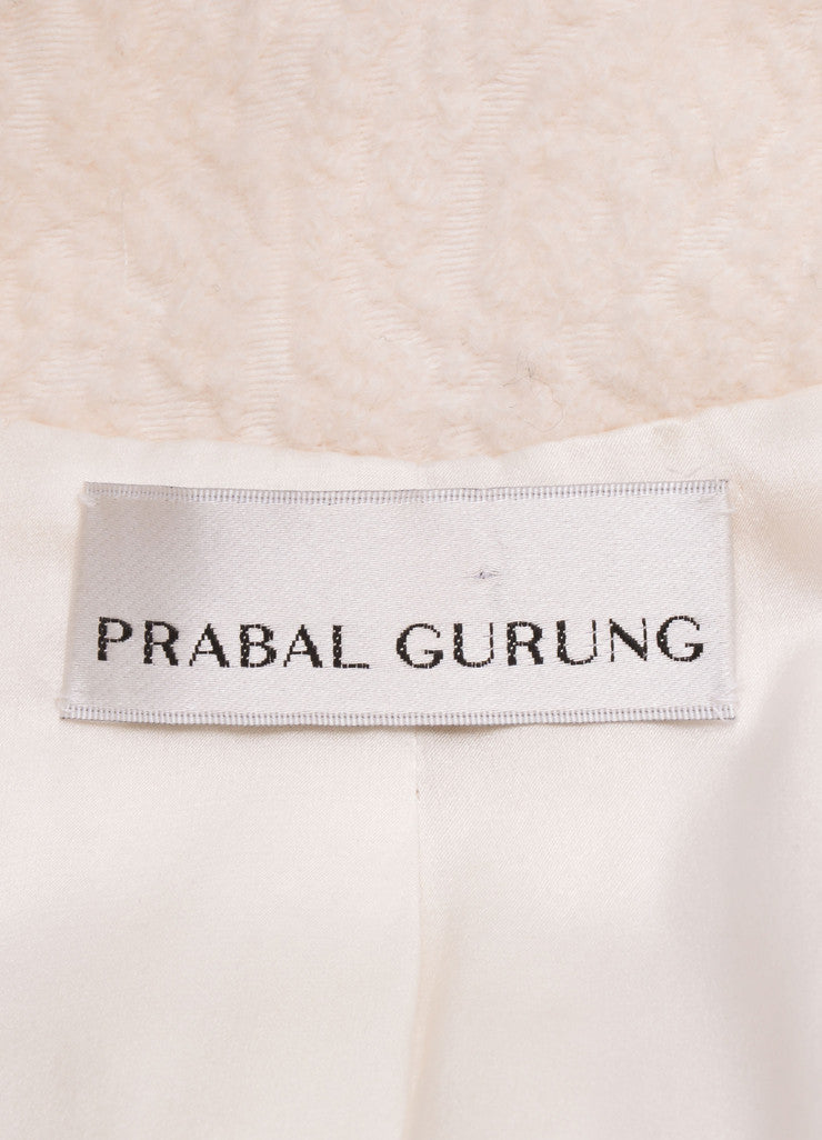 Prabal Gurung Ivory and Black Wool and Silk Lace Overlay Jacket Brand