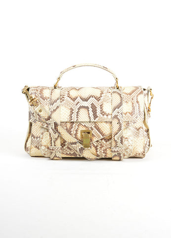 "Proenza Schouler Cream and Grey Python Leather ""PS1 Medium"" Satchel Bag Frontview"