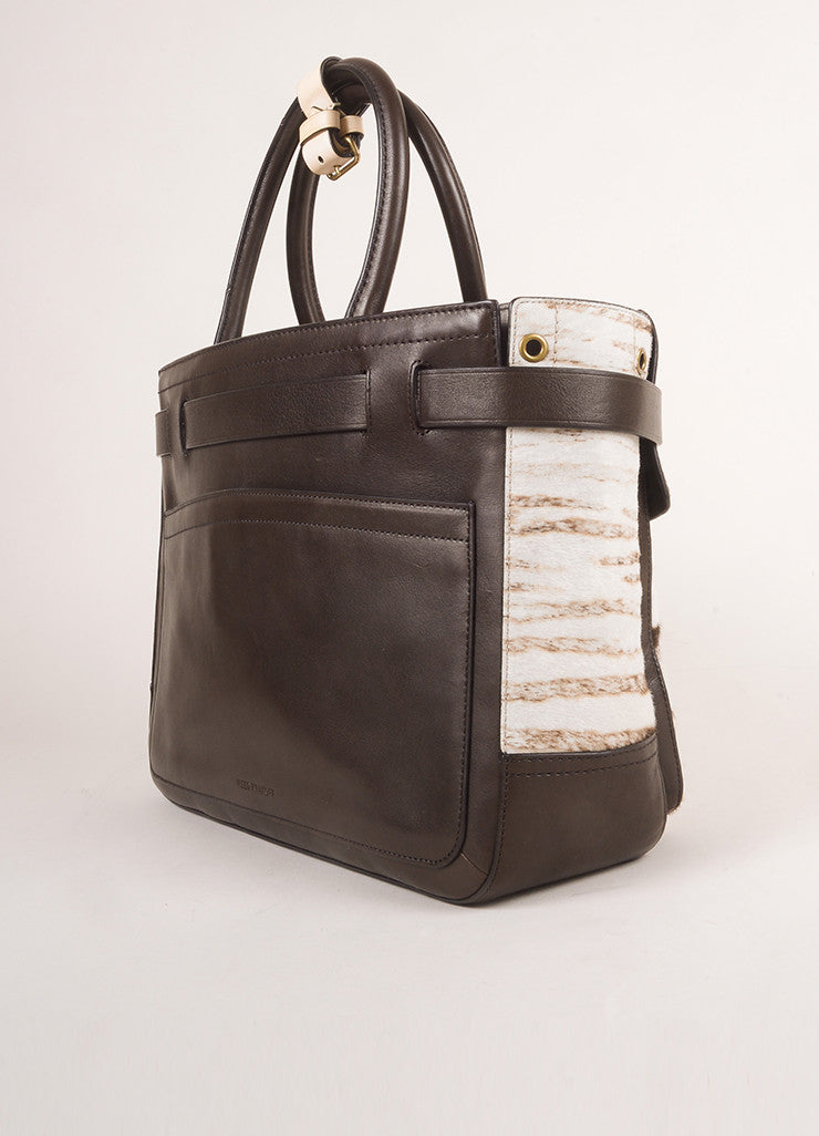 "Reed Krakoff Brown and Cream Animal Print Pony Hair and Leather ""Boxer"" Tote Bag Sideview"
