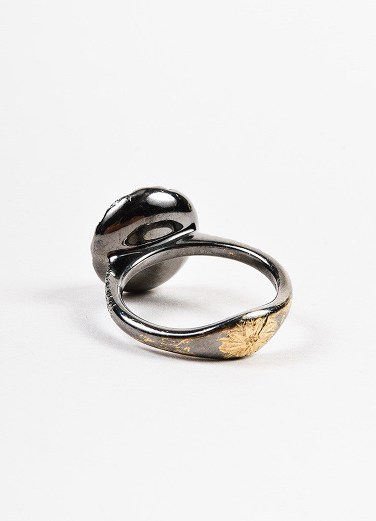 "Roberto Marroni 18K Oxidized White Gold and Diamond ""Baby Sand"" Cocktail Ring Backview"