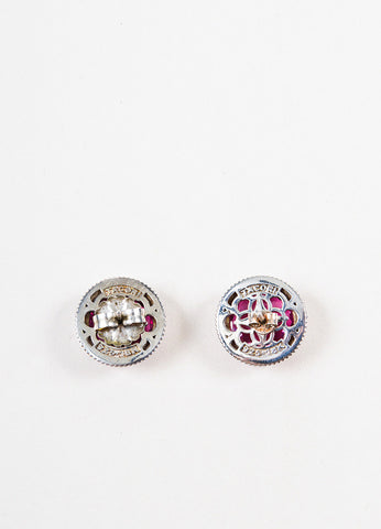 Tacori Sterling Silver Red Quartz Crystal City Lights Stud Earrings Backview