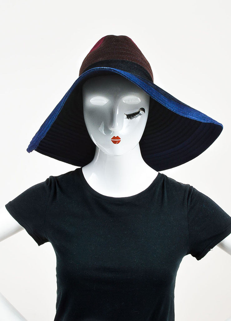 ¥éËThomas Maier Maroon, Brown, and Navy Ombre Rabbit Hair Floppy Sun Hat Frontview