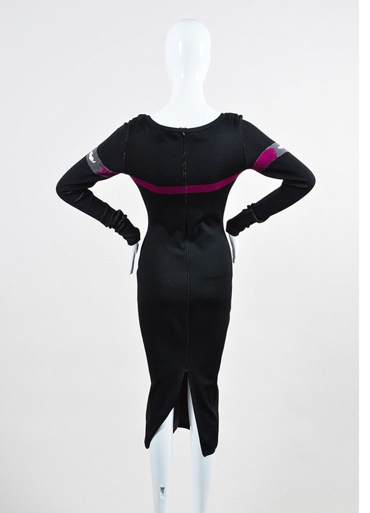 Black and Fuchsia Alaia Long Sleeve Bow Bodycon Dress Backview