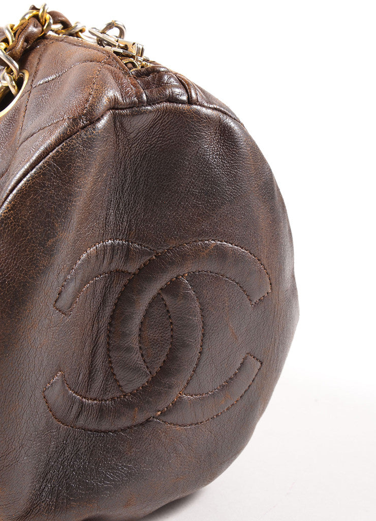 "Chanel Brown Leather Quilted ""CC"" Chain Strap Bowler Shoulder Bag Detail"