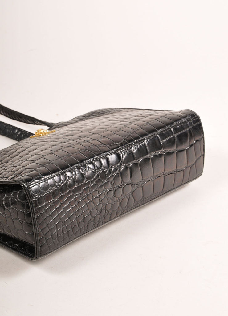 Gianni Versace Black Crocodile Embossed Leather Small Shoulder Bag Bottom View