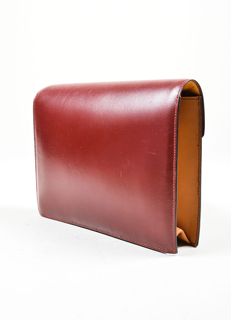 "Red, Maroon, and Tan Hermes Leather Color Block ""Baccara"" Envelope Clutch Sideview"