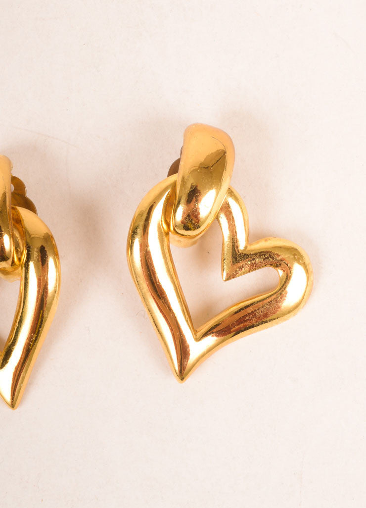 Yves Saint Laurent Gold Toned Open Heart Earrings Detail