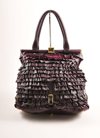 "Valentino Dark Purple Ruffle Leather ""Allure"" Frame Satchel Tote Bag Frontview"